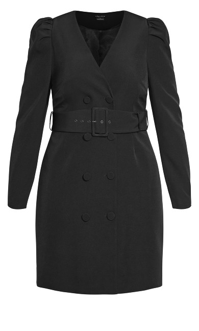 Belted Tux Dress - black