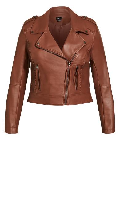Whip Stitch Biker Jacket - amaretto