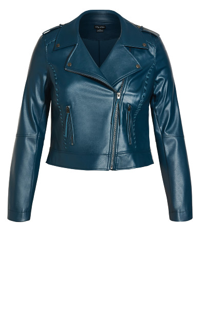 Whip Stitch Biker Jacket - emerald