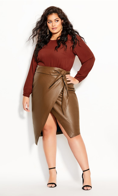 Plus Size Passion Tie Skirt - pine cone
