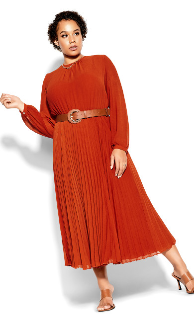 Love Pleat Dress - rust