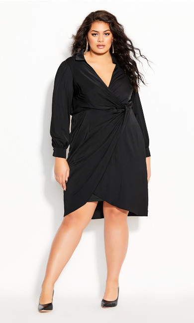 Plus Size Collared Love Dress - black
