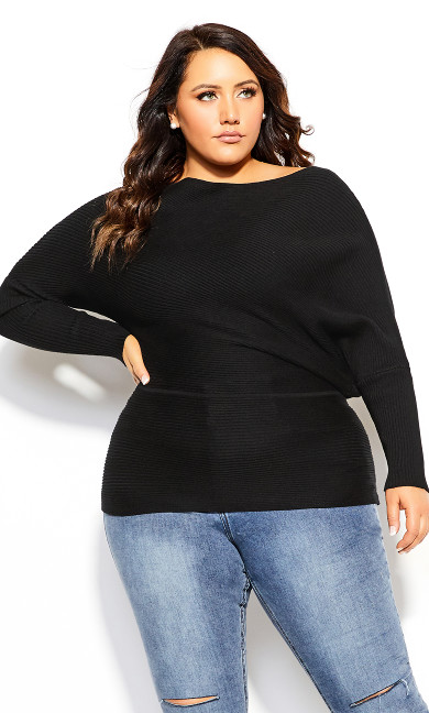 Plus Size Fitter Rib Jumper - black