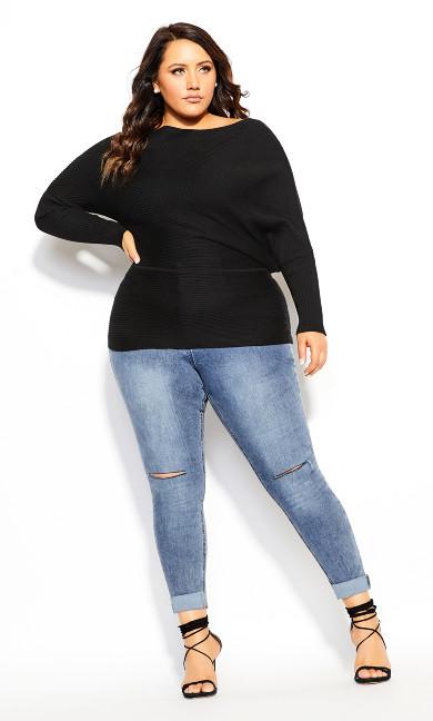 Plus Size Fitter Rib Jumper - black