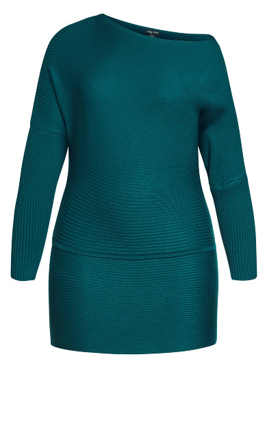Fitted Rib Jumper - teal