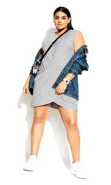 Plus Size Tangled Stripe Dress - grey