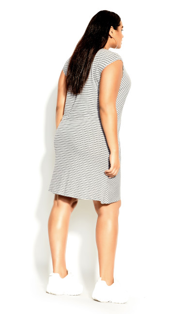 Tangled Stripe Dress - grey