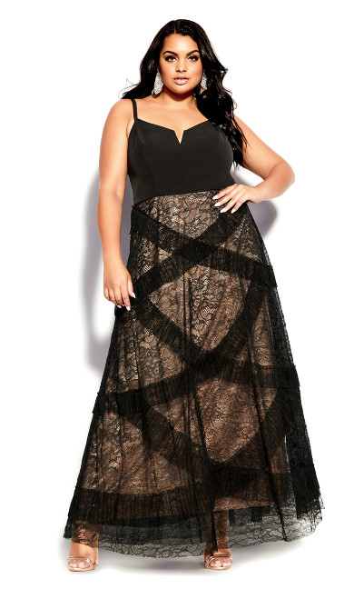 Sexy Ruffles Maxi Dress - black