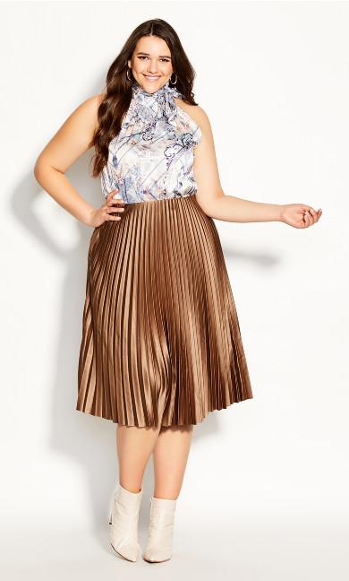 Plus Size Satin Pleat Skirt - bronze