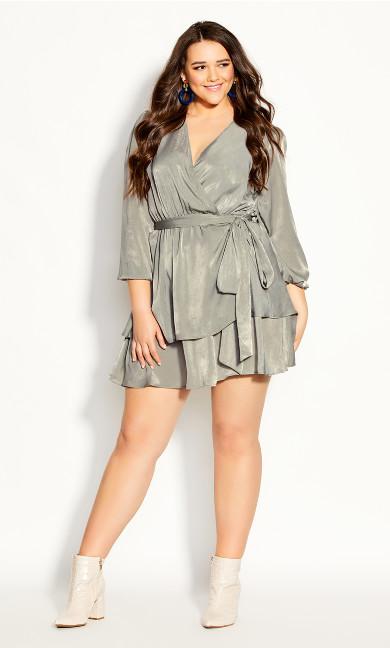 Plus Size Twisted Ruffle Dress - sage