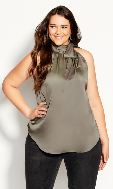 Plus Size Sexy Shine Top - sage