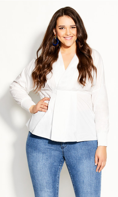 Plus Size Sophisticated Shirt - ivory