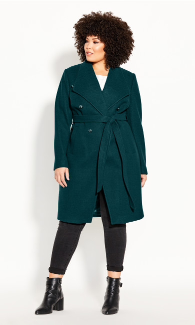 Plus Size Sassy Military Coat - alpine