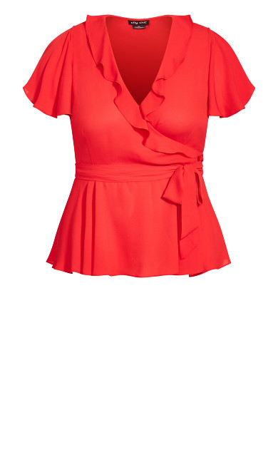 Wrap Frills Top - red