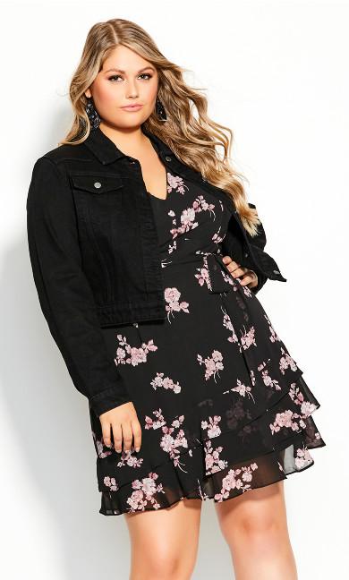 Plus Size Classic Denim Jacket - black