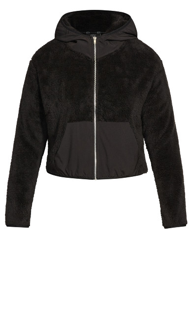 Crop Teddy Jacket - black
