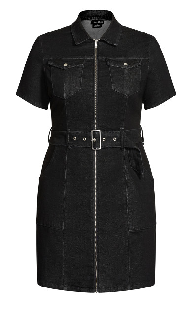 Utility Denim Dress - black