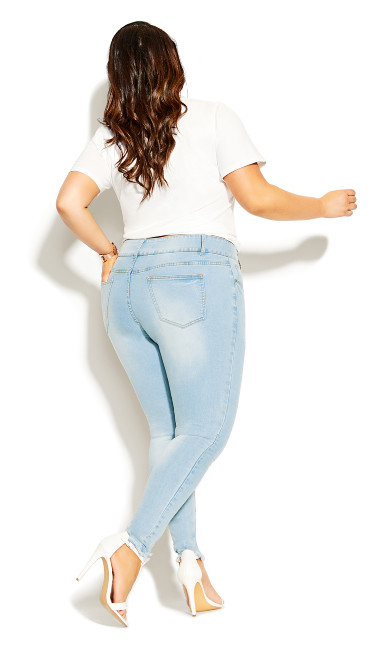 Asha Rip Hem Jean - light wash