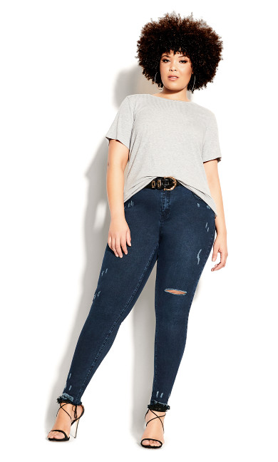 Plus Size Asha Rip Hem Jean - midnight