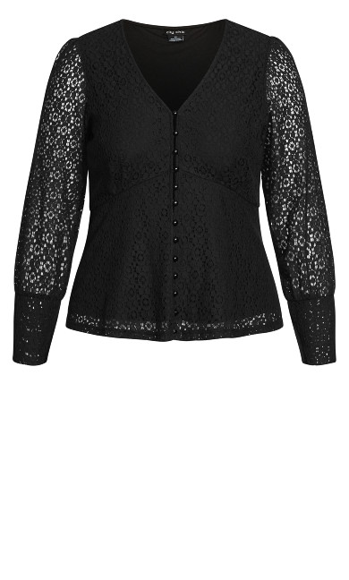Lace Struck Top - black