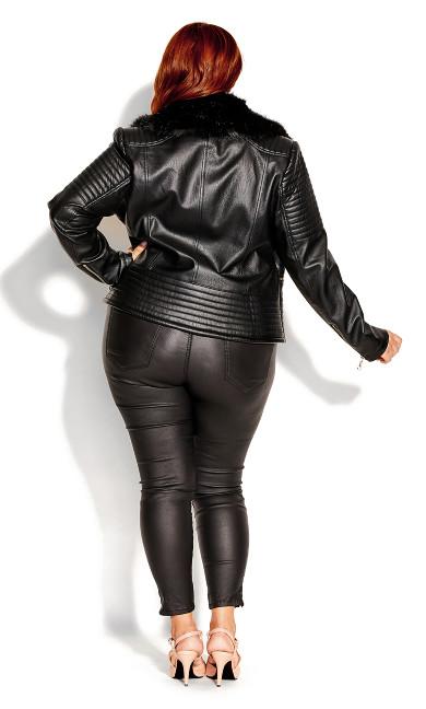 Faux Fur Biker Jacket - black