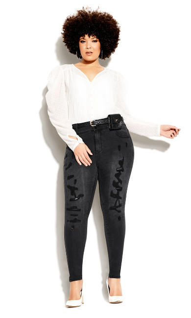 Plus Size Asha Rocker Skinny Jean - black