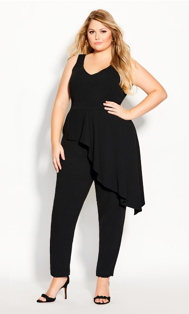 Plus Size Chic Ruffle Jumpsuit - black