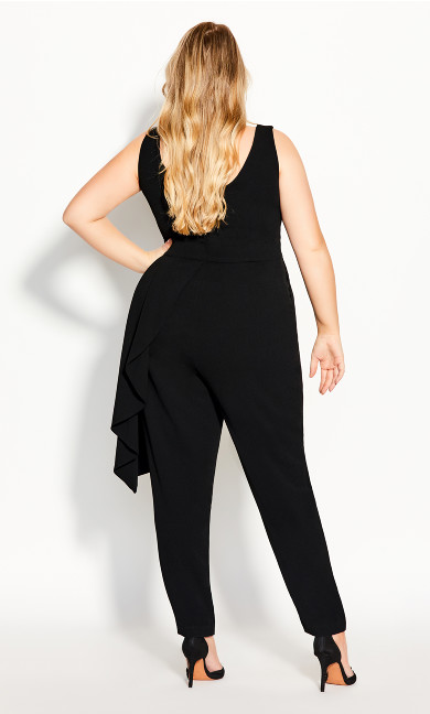 Chic Ruffle Jumpsuit - black
