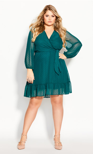 Plus Size Dobby Ruffles Dress - alpine