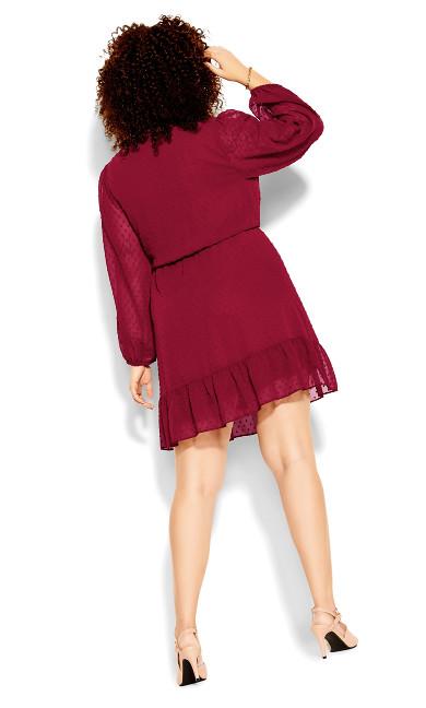 Dobby Ruffles Dress - ruby