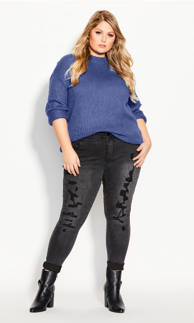 Plus Size Effortless Jumper - blue