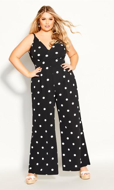 Plus Size Spot Dream Jumpsuit - black