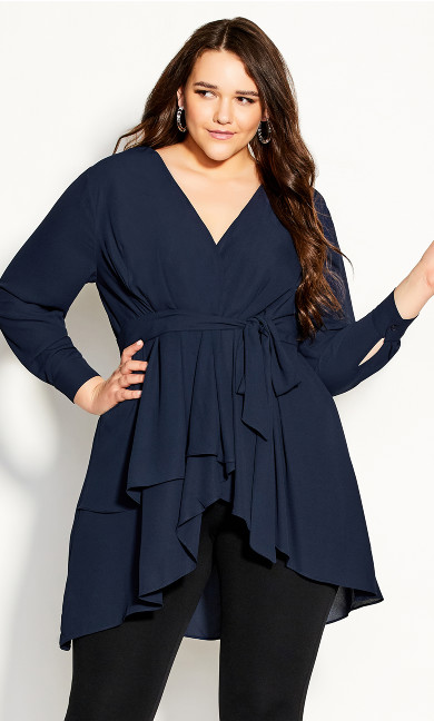 Plus Size Shibara Top - navy