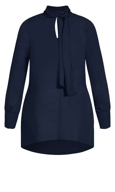 Neck Tie Tunic - navy