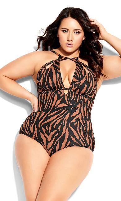 Plus Size Cancun Underwire 1 Piece - tiger print