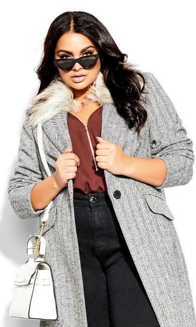 Sleek Faux Fur Coat - black