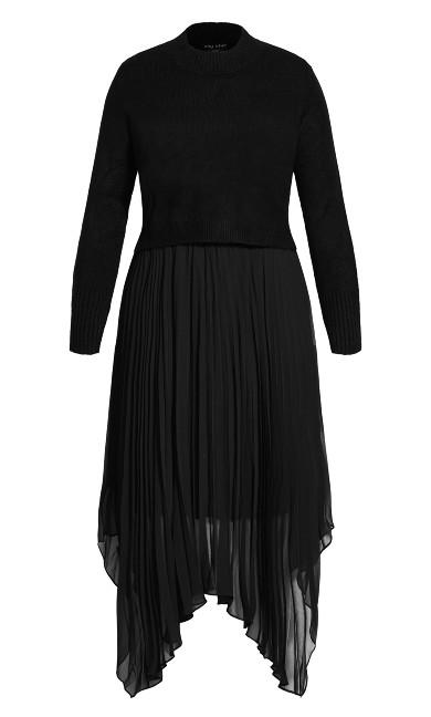 Pleated Crop Dress - black