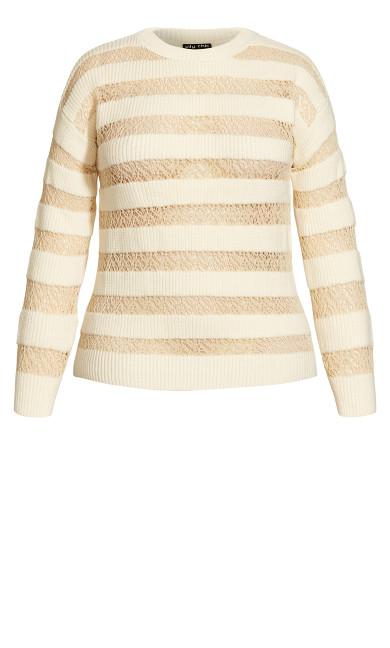 Striped Lace Jumper - creme