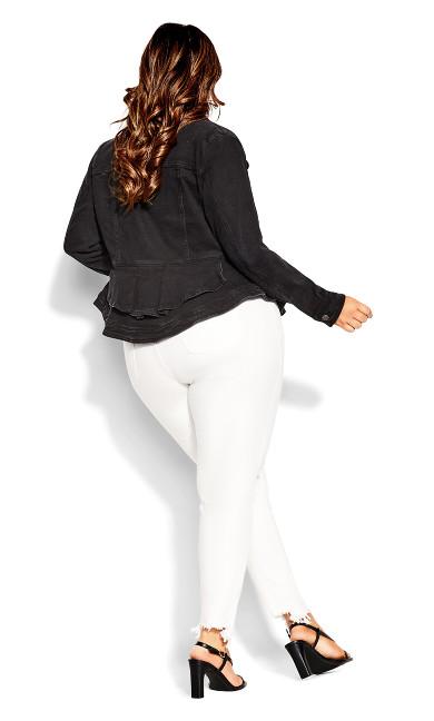 Denim Ruffle Jacket - black