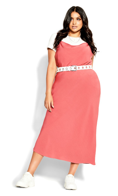 Shimmer Slip Dress - deep guava