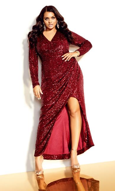 Glimmer Nights Maxi Dress - ruby