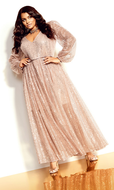 Starry Nights Maxi Dress - rose gold