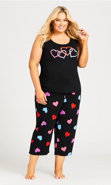 Plus Size Heart Print Tank - black