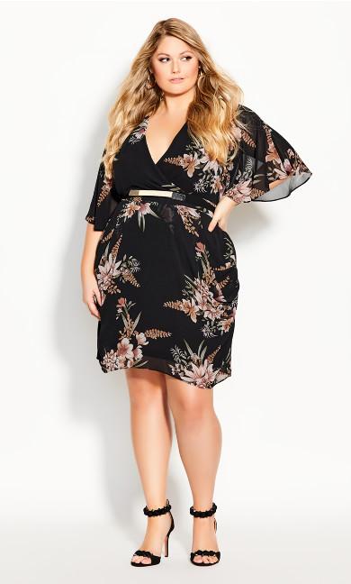 Plus Size Gypsy Floral Wrap Dress - black