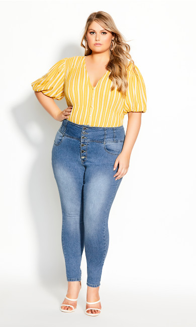 Plus Size Harley Romantic Corset Jean - denim