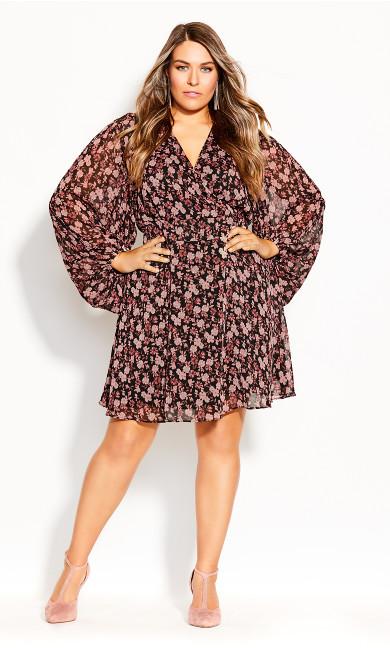 Plus Size Ditsy Romance Dress - black