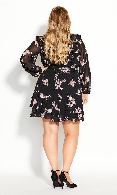 Romantic Frill Dress - black