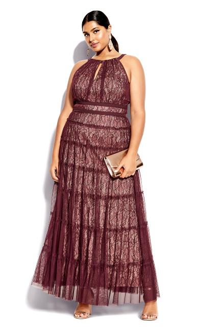 Royal Tier Maxi Dress - bordeaux