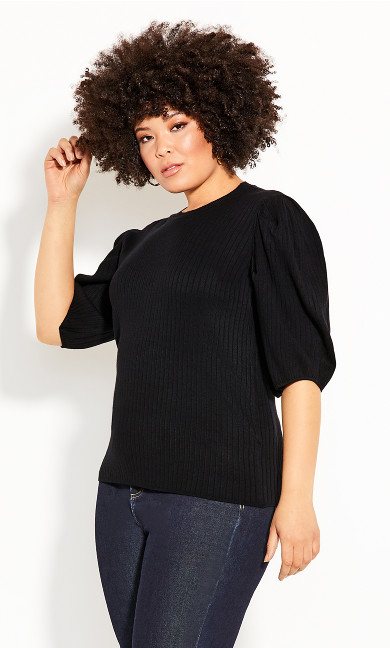 Plus Size Sweet Rib Top - black