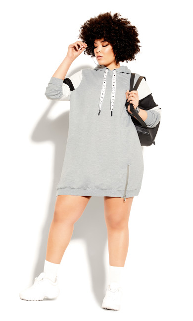 Plus Size Retro Active Hoodie - grey